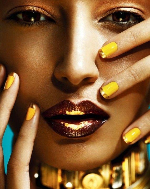 creative nail with makeup