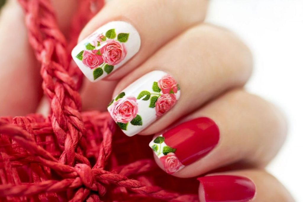 Floral Printed Red Acrylics