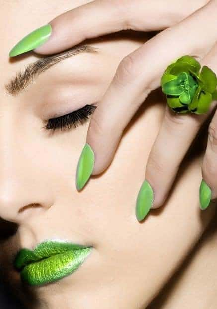 nail and makeup with fresh green color