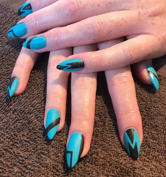 black and blue stiletto nails