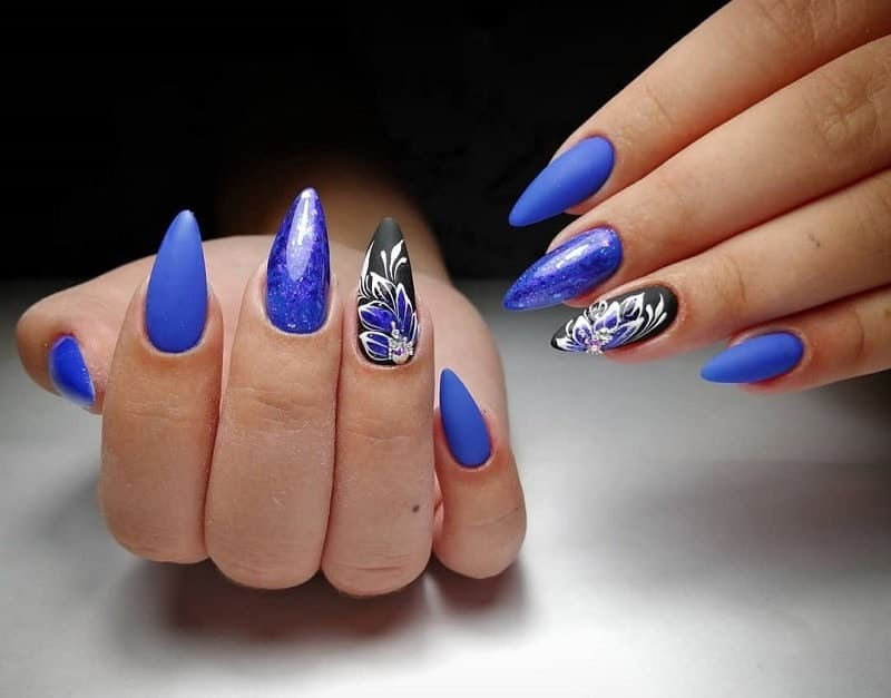 black, blue and white nails