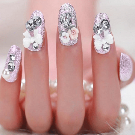 Attractive Bridal Nail Designs for a Lovely Look - 20 Magical Bridal Nail Designs For The Big Day – NailDesignCode