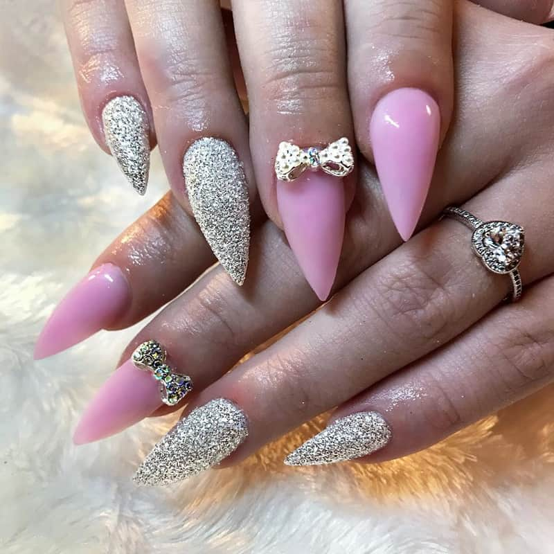 nails designs with bow and diamond