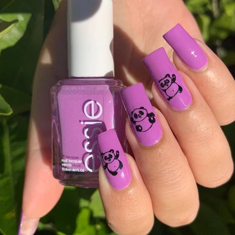 panda gel nail designs