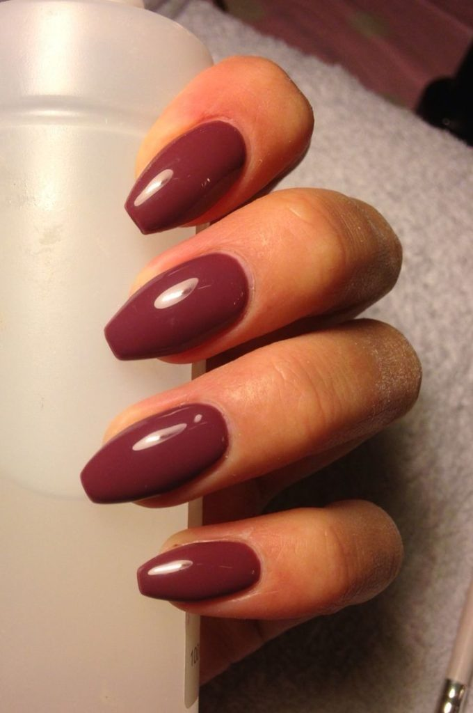 Coffin Shaped Maroon Nail
