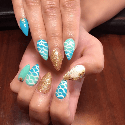 Have a Look at These Stylish Mermaid Nail Designs - 20 Epic Mermaid Nail Designs To Rejuvenate Under The Sea Vibe