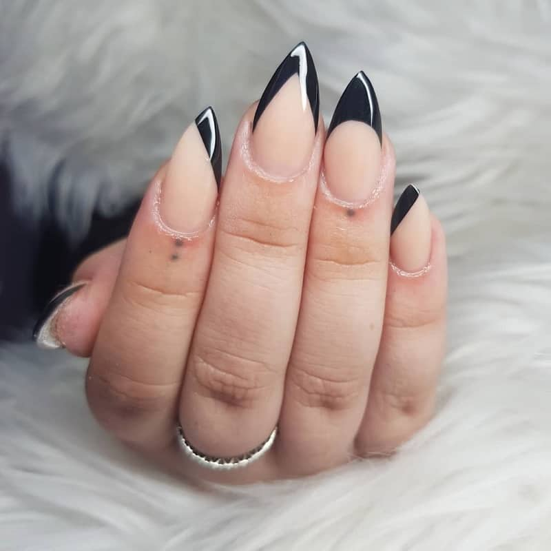 black tip nails