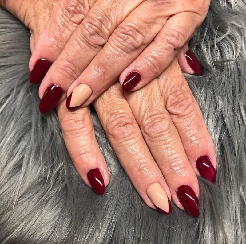 maroon color nails for summer season