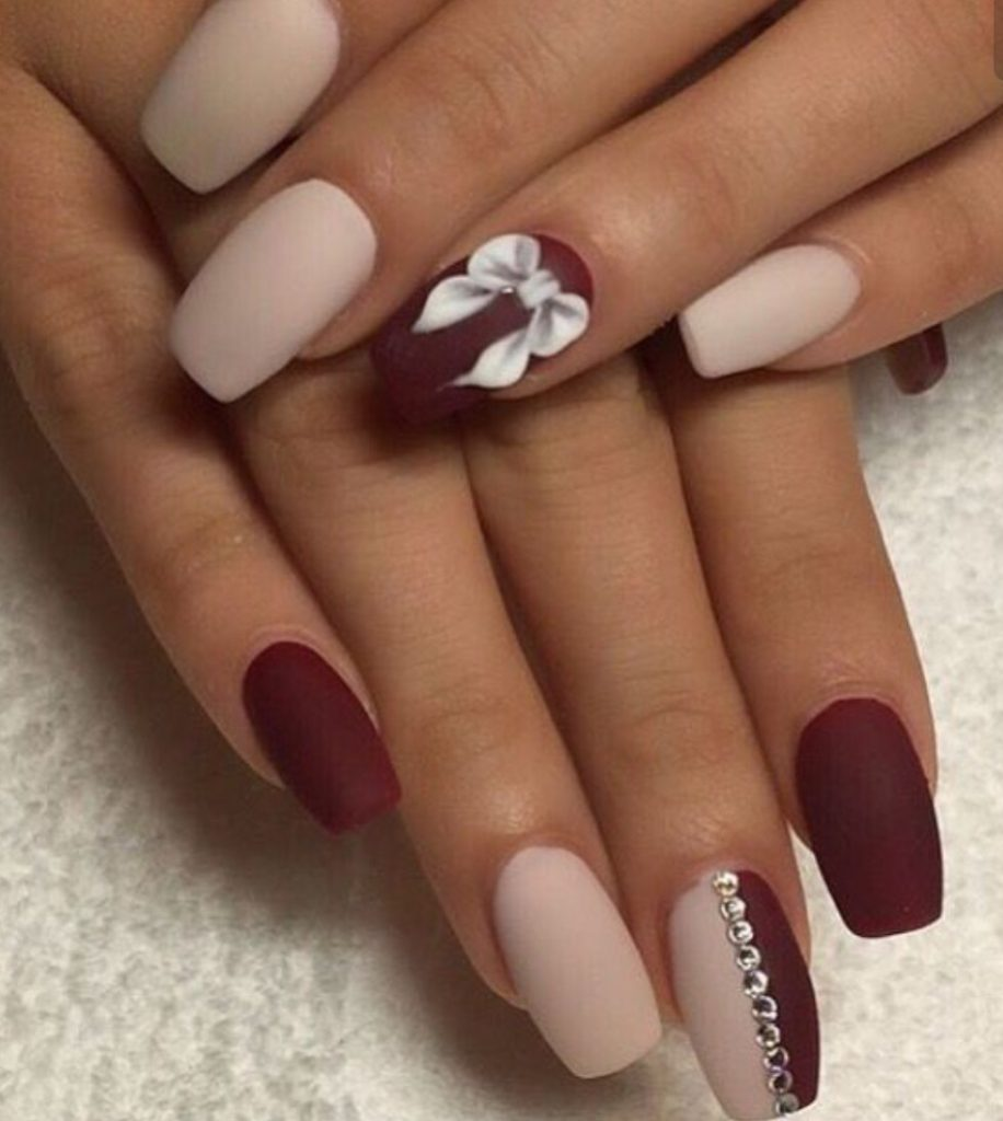 Maroon Nails With Gemstones