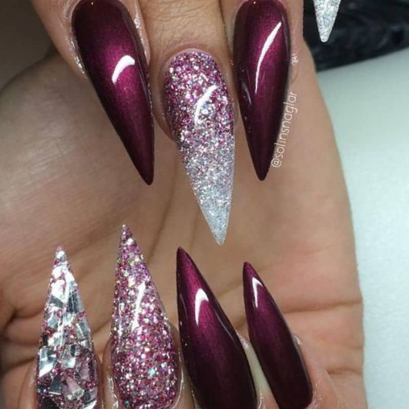 Glitter Maroon Nails