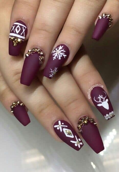 Matte Maroon Nails with White