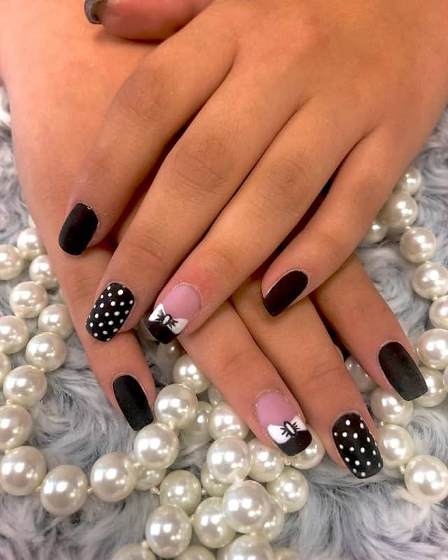 black and white nail designs with bows