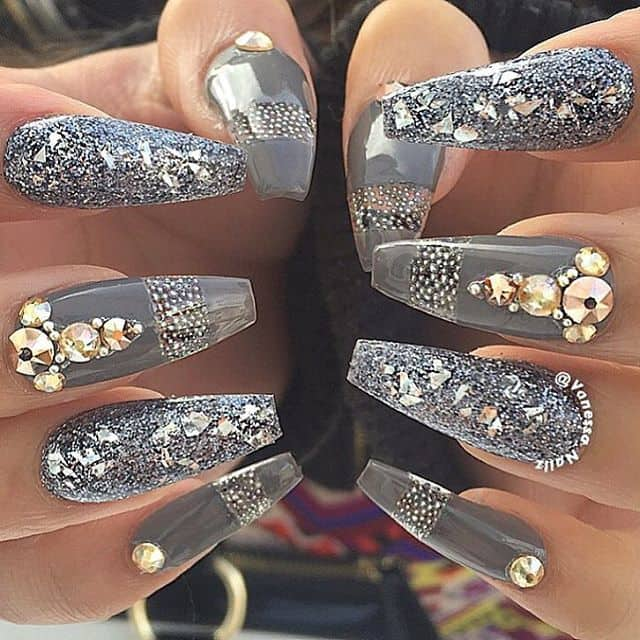 Nail bling designs images nail art and nail design ideas 20 aristocratic bling nail designs for 2018 naildesigncode grey glittery nails prinsesfo images prinsesfo Image collections