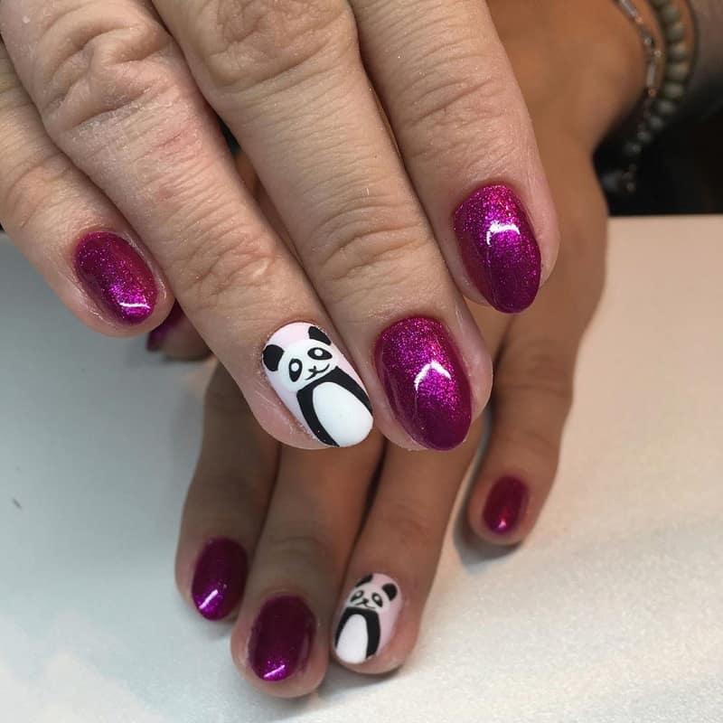 sns panda nail design