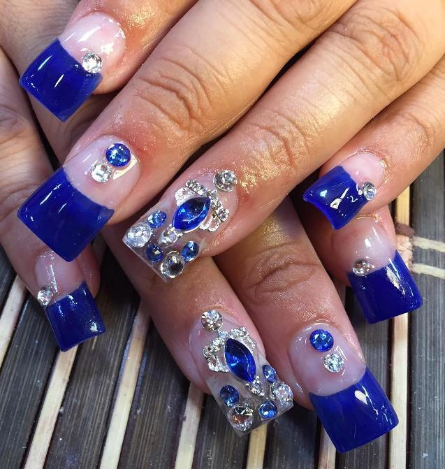 Square Royal Blue design nail