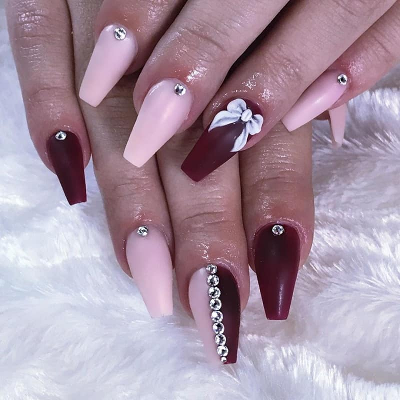 coffin nail design with bows