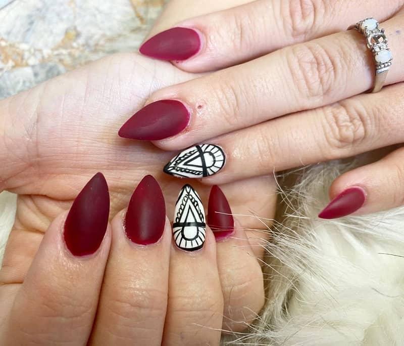 maroon acrylic nails