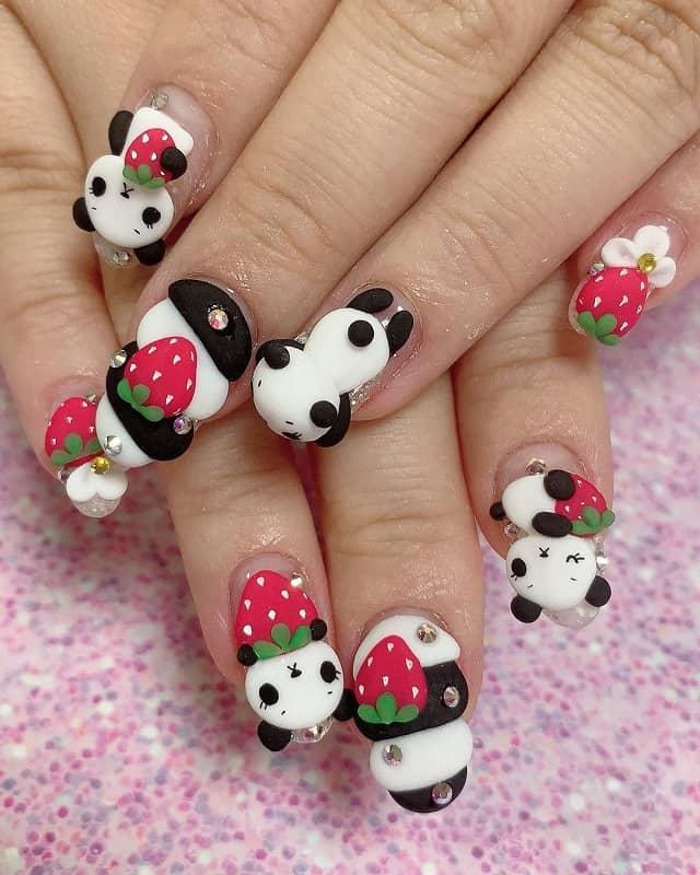 3d panda nail art design