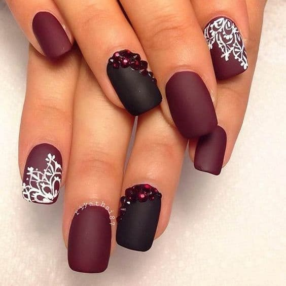 Marron Matte Nails For Square Shape