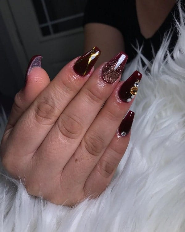 maroon acrylic coffin nails