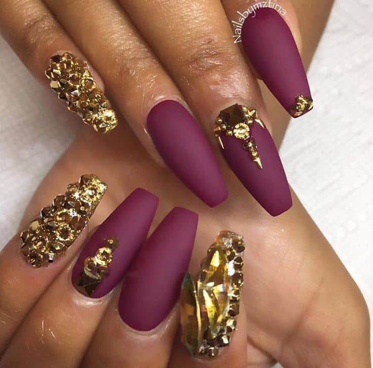 Spicy Maroon and Gold Nail art
