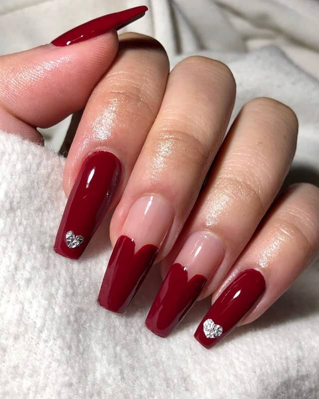 maroon color valentine nails