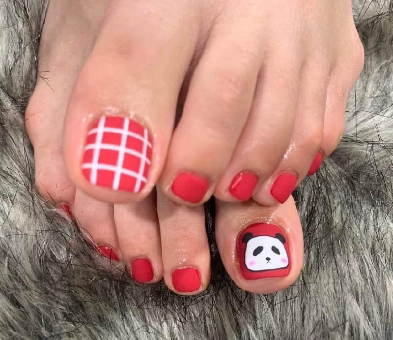panda toe nail designs