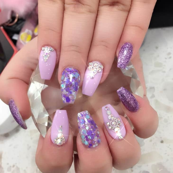 purple bling nail design - 20 Aristocratic Bling Nail Designs For 2018 – NailDesignCode