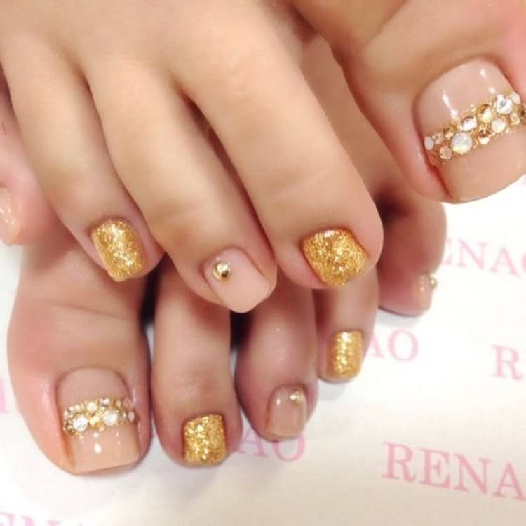 Beige Pink Nail Pedicure Design