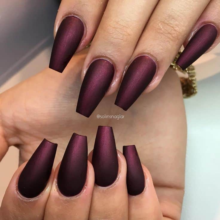 Matte Burgundy Coffin Shaped Nails | Best Nail Designs 2018