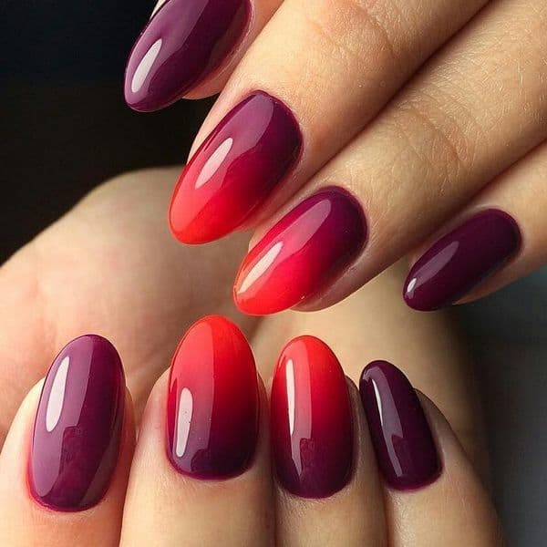 Ombre Maroon Nails