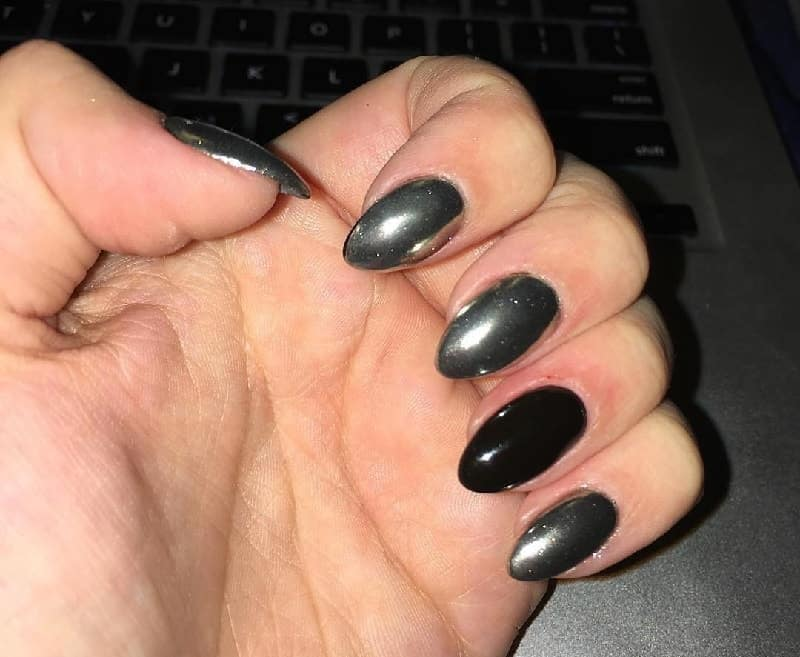 black and silver chrome nails