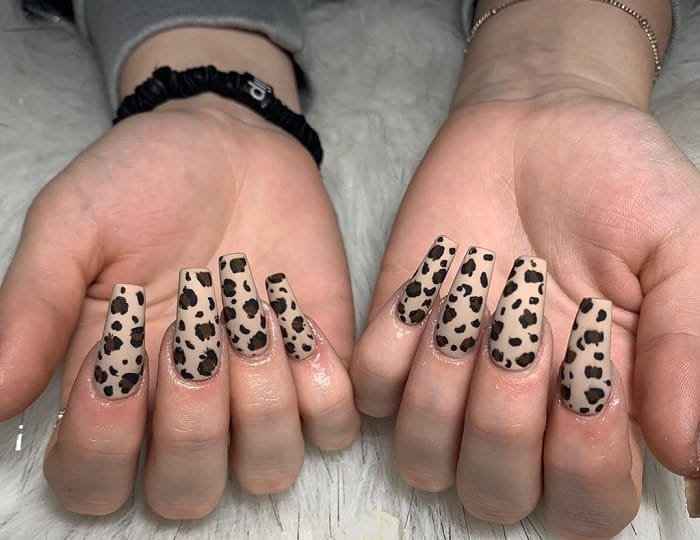 Cheetah Print Coffin Nails
