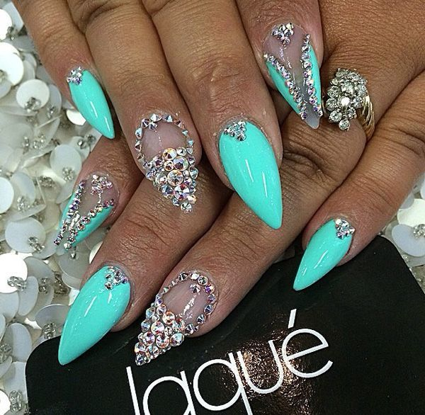 Minty blue bling nail arts