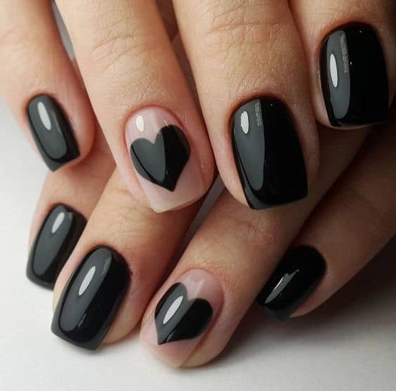 Black Shaped Nail Design