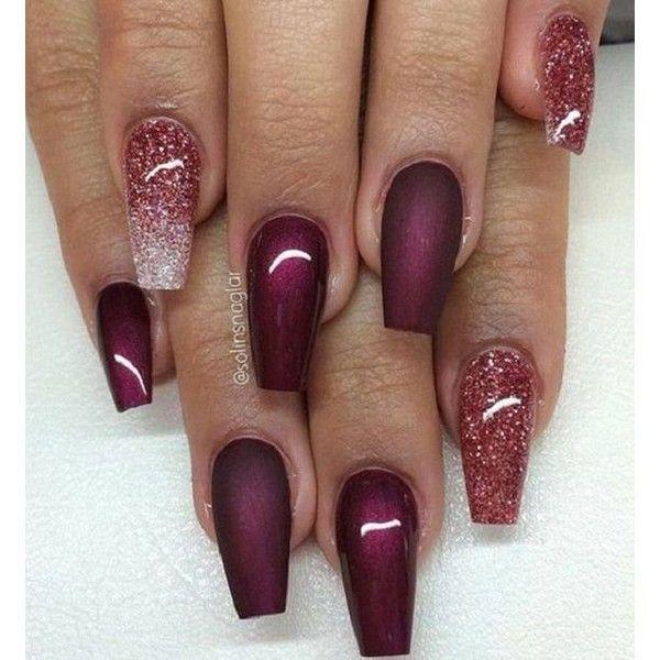 Glossy Maroon Nails