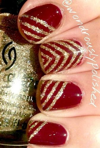 Maroon Nails With Golden Touch