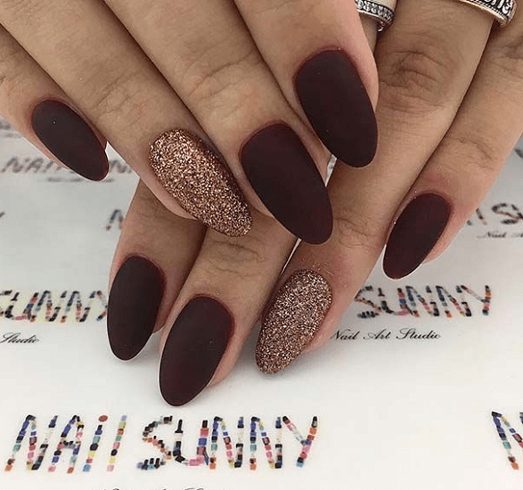 These 7 unreal designs are perfect for the upcoming colder days. Which one  of these 7 lucky creations will make its way up to your nails? - 7 Classy Maroon Matte Nails You Must Have – NailDesignCode