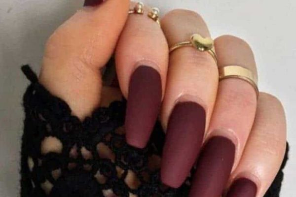 Maroon Matte Nails to Adore