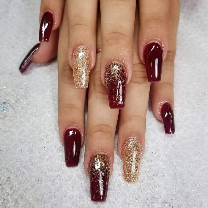 maroon prom nails