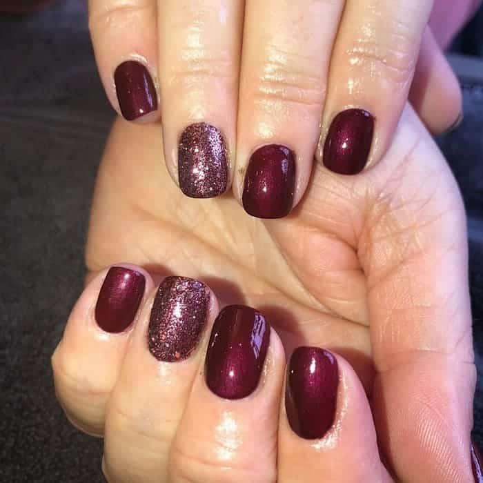 maroon shellac nails