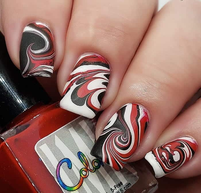 water marble matte nails