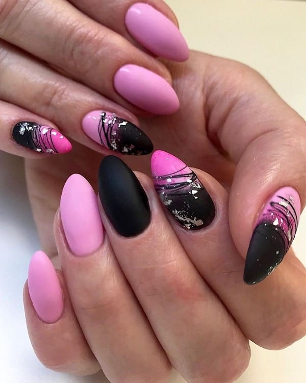 pink and black matte nails