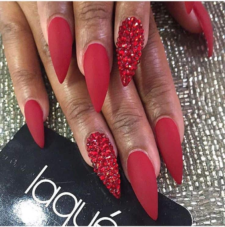 Matte Red Stiletto Nails