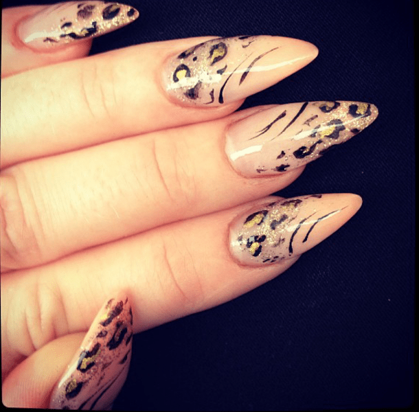 Leopard Nude stiletto nails