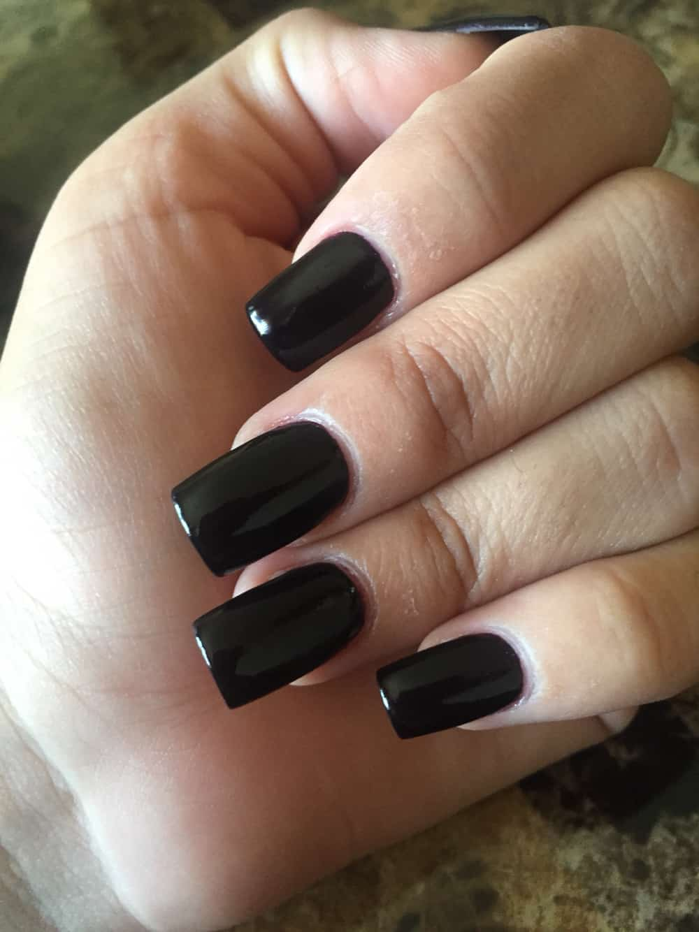 Black Square Acrylic Nail