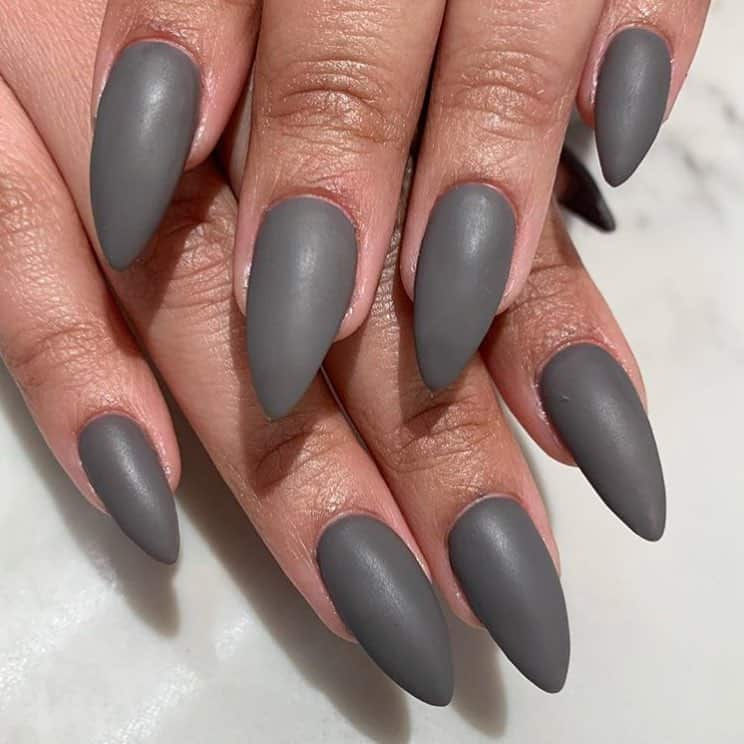 matte stiletto gray nails
