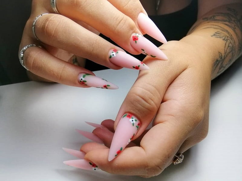 matte stiletto acrylic nails
