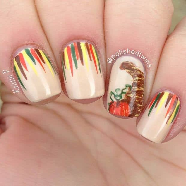 Nail Art With Thanksgiving Colors