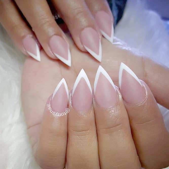 Nude Short Stiletto Nails